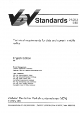 VÖV-Schrift 04.05.3 Technical requirements for data and speech mobile radios [eBook]