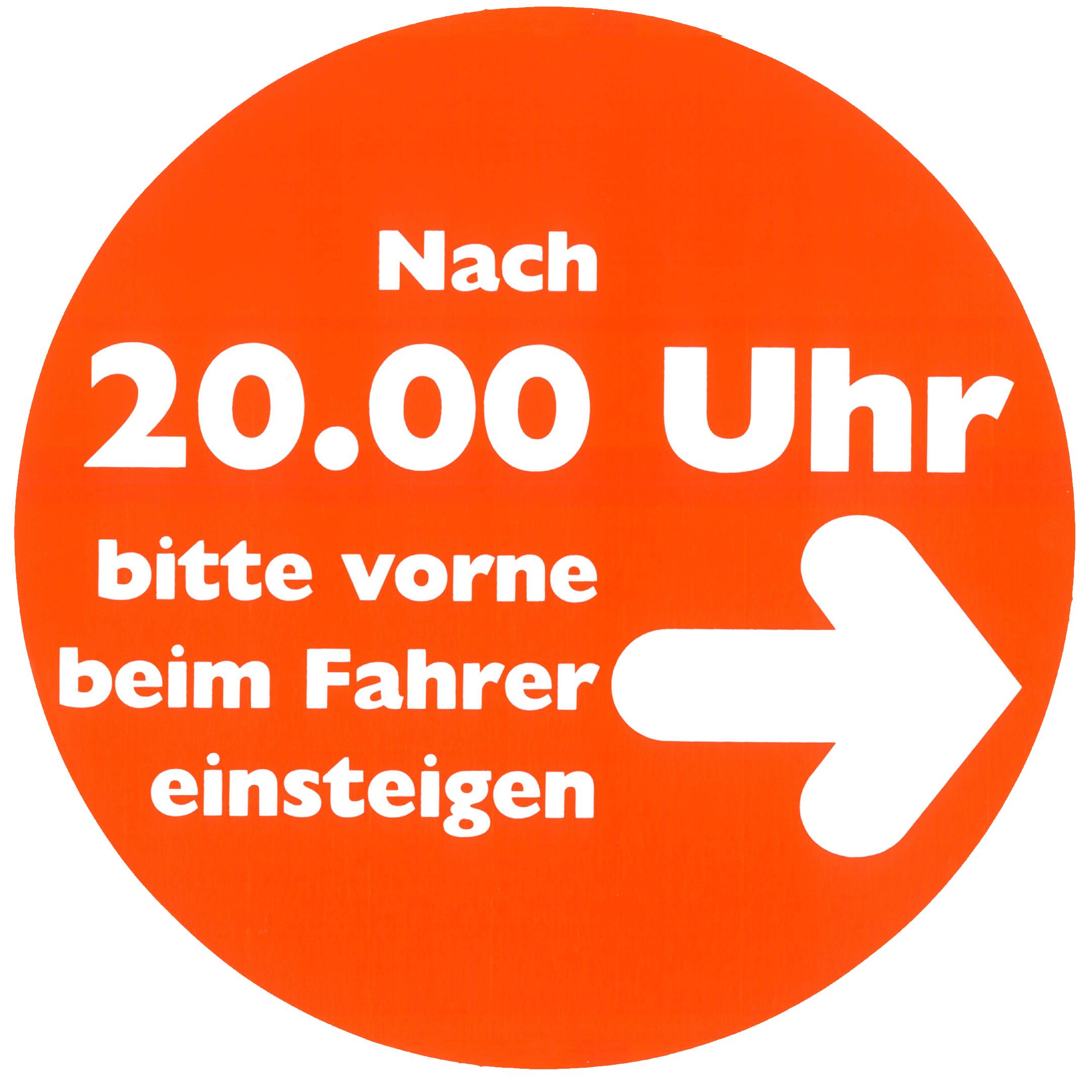 Piktogramm V20520: Hinweis auf den Einstieg nach 20 Uhr
