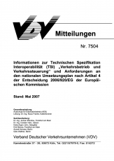 VDV-Mitteilung 7504 Informationen zur technischen Spezifikation Interoperabilität [Print]