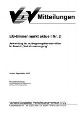 VDV-Mitteilung 9502  EG - Binnenmarkt aktuell Nr. 2 [Print]