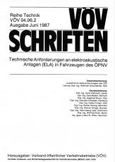 VÖV-Schrift 04.06.2 Technische Anforderungen an elektroakustische Anlagen (ELA) in Fahr.  ...[Print]