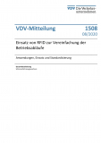VDV-Mitteilung 1508 Einsatz von RFID zur Vereinfachung der Betriebsabläufe [Print]