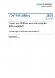 VDV-Mitteilung 1508 Einsatz von RFID zur Vereinfachung der Betriebsabläufe [eBook]