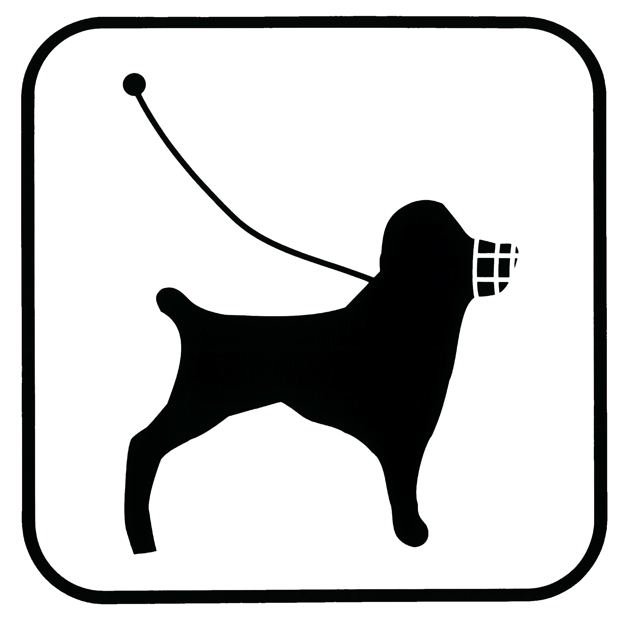 Piktogramm V20395: Hund mit Maulkorb und Leine
