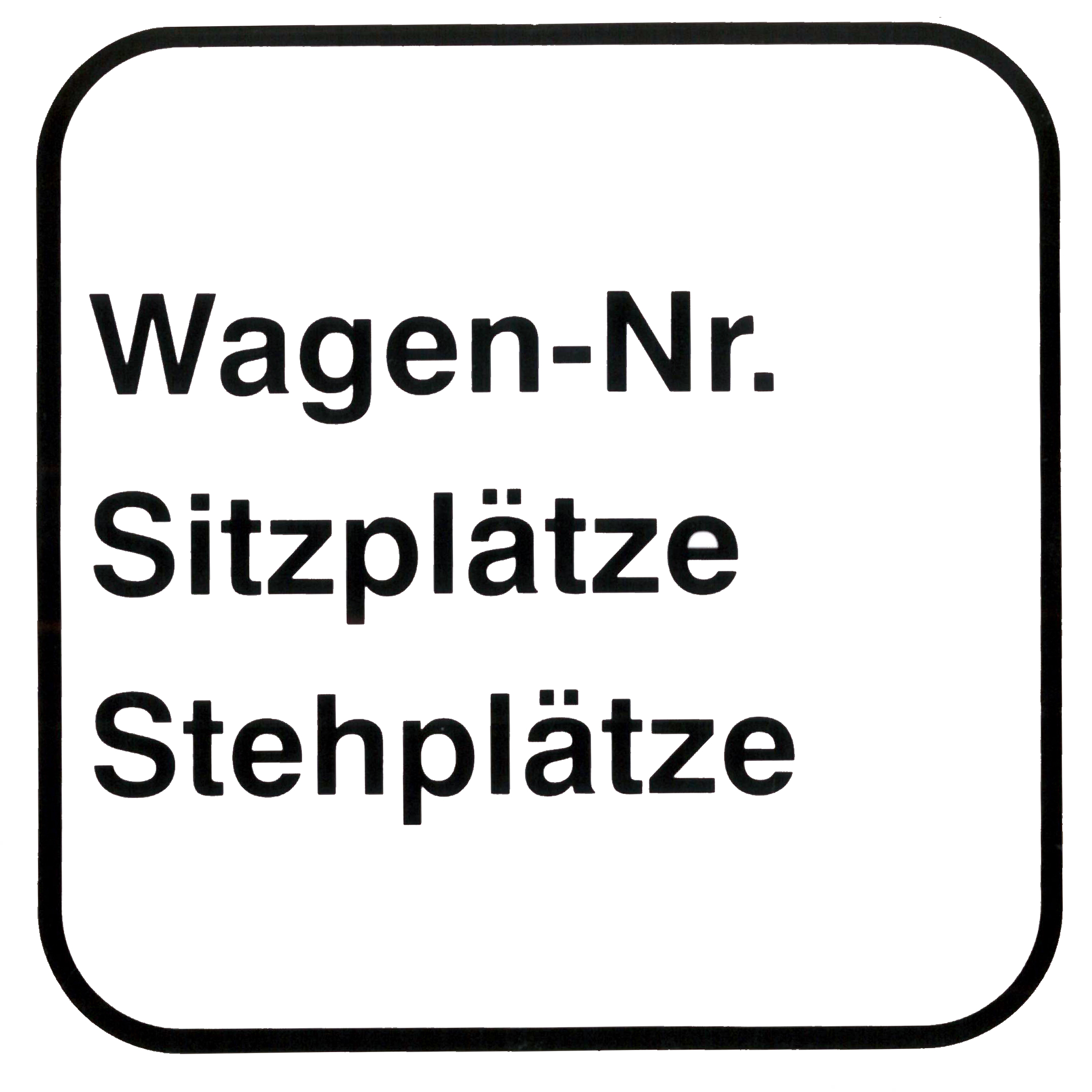 Piktogram V20460: Wagen-Nr / Sitzplätze / Stehplätze
