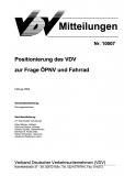 VDV-Mitteilung 10007 Positionierung des VDV zur Frage ÖPNV und Fahrrad [Print]