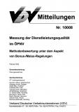 VDV-Mitteilung 10008 Messung der Dienstleistungsqualität im ÖPNV [Print]