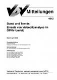 VDV-Mitteilung 4012 Stand und Trends Einsatz von Videobildanalyse im ÖPNV - Umfeld [eBook]