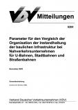 VDV-Mitteilung 6204 Parameter für den Vergleich der Organisation der Instandhaltung ... [Print]