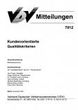 VDV-Mitteilung 7012 Kundenorientierte Qualitätskriterien [Print]