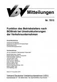 VDV-Mitteilung 7013 Funktion des Betriebseiters nach BOStrab bei Umstrukturierung.......[eBook]