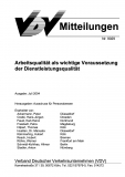 VDV-Mitteilung 9029 Arbeitsqualität als wichtige Voraussetzung der Dienstleistungsqualität [eBook]