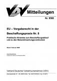 VDV-Mitteilung 9508 EU-Vergaberecht in der Beschaffungspraxis Nr. 8 [eBook]