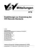 VDV-Mitteilung  9718 Empfehlung zur Anwendung des VDV - Barcode - Standards [eBook]
