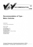 VDV-Schrift 151 Recommendation of Type Metro Vehicles [Print]