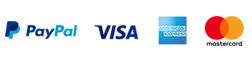 Einfache Zahlung über Paypal, auch mit Kreditkarte möglich, ohne Anmeldung
